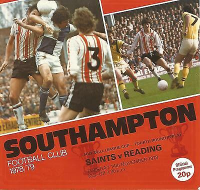 Southampton v Reading - League Cup Replay - 14/11/1978 - Football Programme