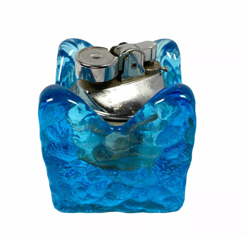 """Blue Art Glass Pebbled Table Lighter Nugget Square MCM 2.5"""""""