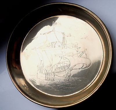 VINTAGE BRASS TRAY-GALLEON DECORATION-c1920/30s  %