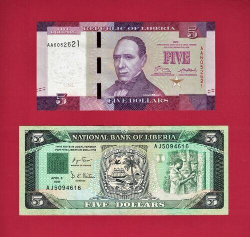 2 FIVE DOLLARS LIBERIA NOTES: $5.00 1991 (VF) (P-20) & $5.00 2016 (UNC) (P-31a)