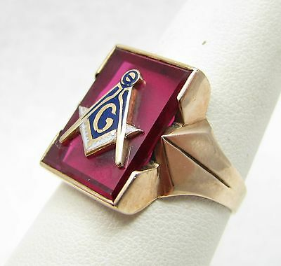 Vintage Deco 10k Yellow Gold Enamel Ruby Mens Masonic Mason Ring Size 9.25