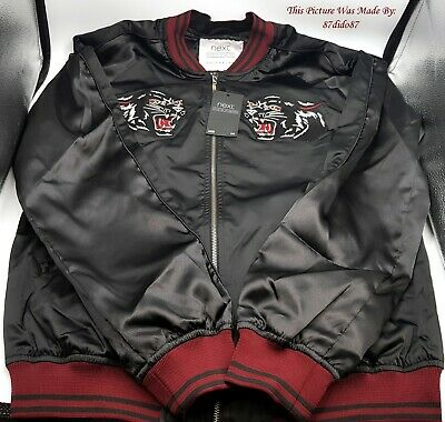 Next Mens Black Red Panther Puma Applique Lightweight Satin Bomber Jacket Coat
