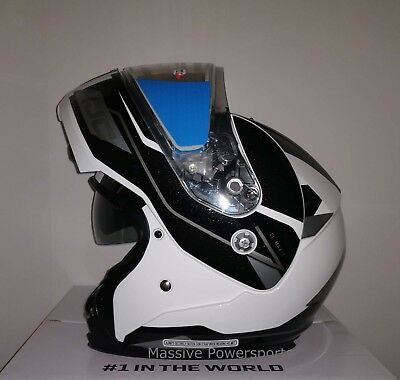 HJC CL-MAX3 Flow Snowmobile Helmet White Gray LG Large Modular Sunscreen