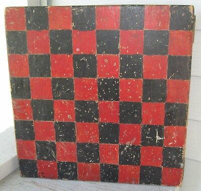 ANTIQUE RED & BLACK PAINT WOODEN GAMEBOARD/CHECKERBOARD NICELY AGED PATINA