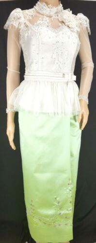 Cambodia Khmer Traditional Out fit White Lace Top Korean Silk Skirt Women Size M