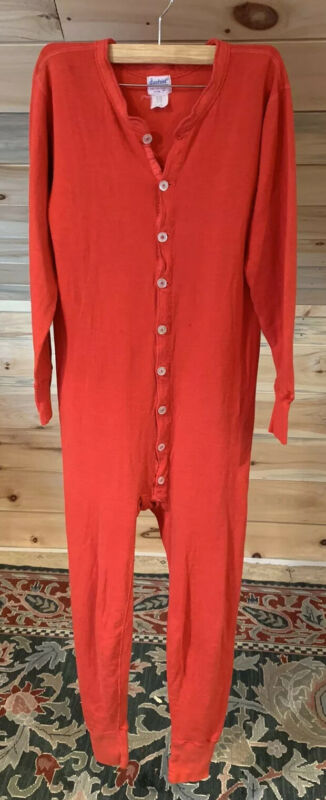 Vintage Duofold RED Cotton Wool Thermal Long Johns Union Suit USA Made Men