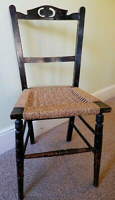 Lovely Antique Rustic Hall Chair with Woven Seat, turned legs