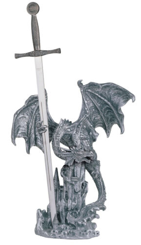 17 INCH SILVER DRAGON AND SWORD ATTACKING CASTLE FIGURINE
