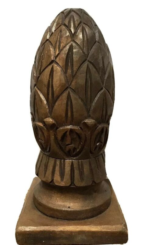 Large Carved Wooden Artichoke Pine Cone Pineapple Finial Architectural Salvage