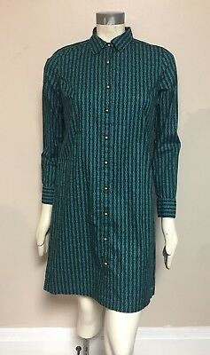 Chain Print Dress - Tommy Hilfiger Women Shirt Dress Button Down Green Blue Chain Link Print Sz S/P
