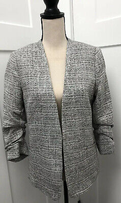 H&M Women's Collarless Tweed Flat Front Blazer 3/4 Sleeve Clasp Black White 8