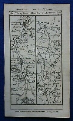 Original antique road map SHROPSHIRE, SHREWSBURY, MIDDLESEX, Paterson 1785