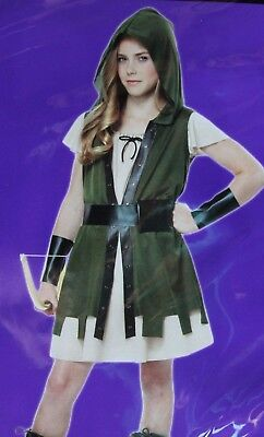 GIRLS XL 12 14 WOODLAND MEDIEVAL HUNTER HALLOWEEN COSTUME HUNGER GAMES KATNISS (Woodlands Halloween Games)
