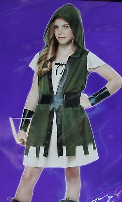 GIRLS LRG 10-12 WOODLAND MEDIEVAL HUNTER HALLOWEEN COSTUME HUNGER GAMES KATNISS (Woodlands Halloween Games)