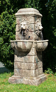 Lion Head Obelisk Water Fountain Waterfall Cascade Garden Feature Outdoor