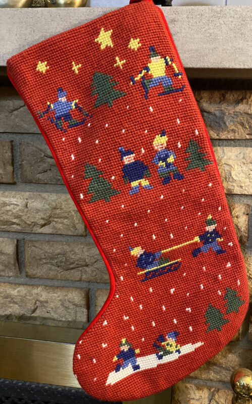 Completed Needlepoint Christmas Stocking 15""