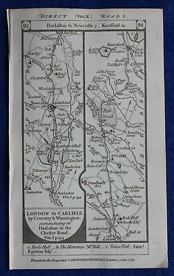 Original antique road map STAFFORDSHIRE, CHESHIRE, LANCASHIRE, Paterson, 1785