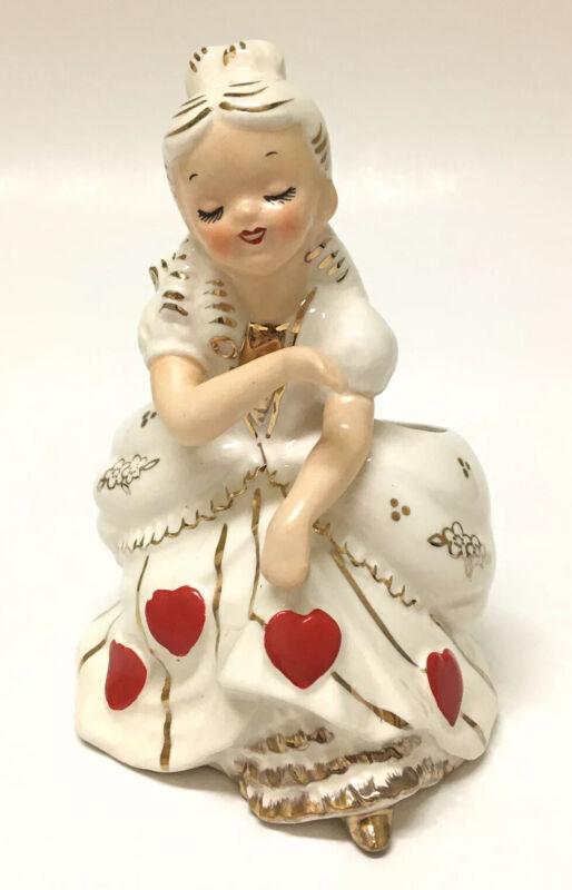 Vintage Valentine Southern Belle Girl Heart Planter National Potteries~Japan