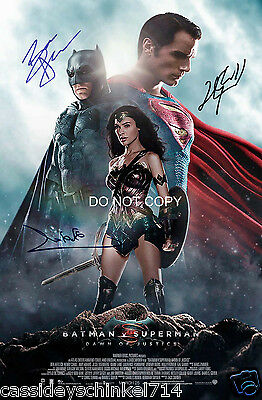 Batman v Superman reprint signed cast 12x18 poster photo Affleck Cavill Gadot RP