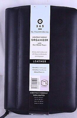 Franklin Covey 365 Black Leather 7 Ring Binder Planner Organizer W Inserts Nwt