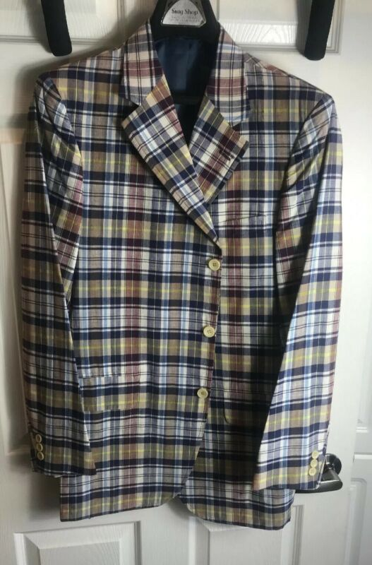 Vintage Plaid Sports Coat Jacket Mens Trooping The Colour