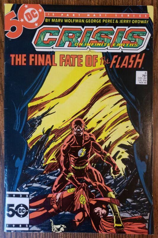 CRISIS ON INFINITE EARTHS #8 ~ DEATH OF FLASH (BARRY ALLEN) ~ VF- 1985 DC COMICS