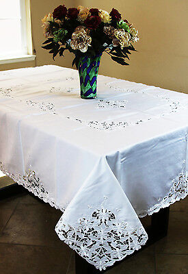 "72x144"" White Large Embroidered Embroidery Daisy Cutwork Rectangular Tablecloth"