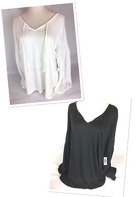 Old Navy Relaxed Tie-Neck Peasant Top for Women In Cream & Black Size L, XL, XXL - Peasant Tops For Women
