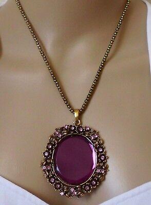 Halsschmuck Kette Halskette Strass Vintage lila alt-goldfarben Spiegel-Kristall (Kristall Schmuck Lila)