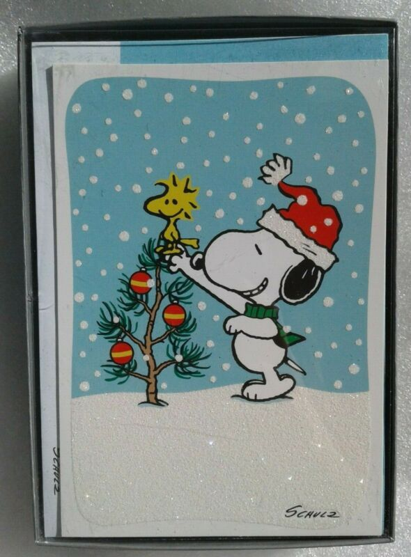 Snoopy Peanuts Hallmark Christmas Cards 16 Count Self Sealing Envelopes