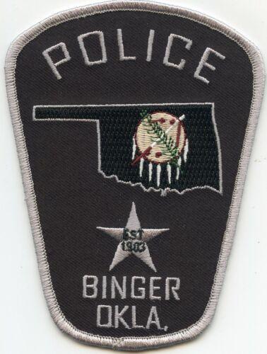 BINGER OKLAHOMA OK State Outline POLICE PATCH