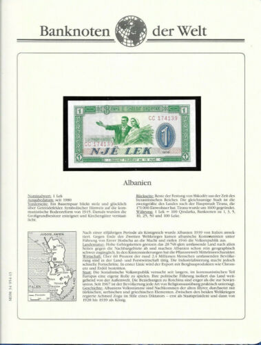Banknotes of World Albania 1 Lek 1976 P-40 UNC Prefix CC