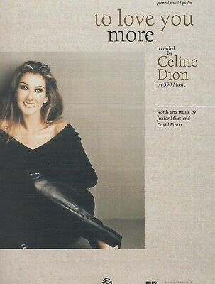 """CELINE DION """"TO LOVE YOU MORE"""" SHEET MUSIC-PIANO/VOCAL/GUITAR-RARE ON SALE-NEW!!"""