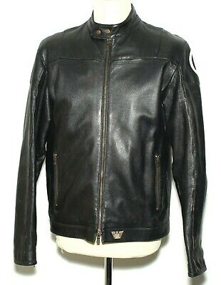 "Mens Emporio Armani Cafe Racer Biker Jacket Sheepskin Leather Size M Chest 40"""