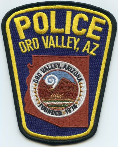 ORO VALLEY ARIZONA AZ Yellow Letters POLICE PATCH