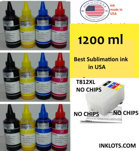 1200 ml Sublimation ink Formulated for Epson  WF7820 WF7840 +4PK CHIPLES T812