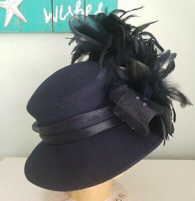 Navy Derby Hat (Stunning Deborah Fashions Navy Blue Wool Felt Church Derby Hat Feathers Mesh)