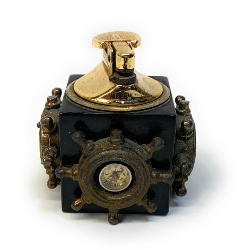 Vintage Ship wheels Gas Table Lighter. Made In Japan
