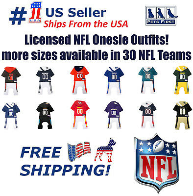 NFL Pajama Outfit for DOGS & CATS - Licensed, breathable, Dog Football Bodysuit - Cats Outfit