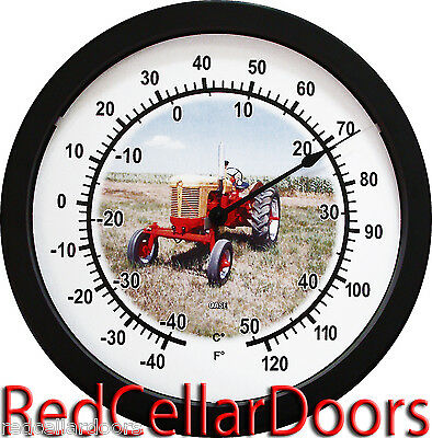 "New Vintage Yellow and Red RC Case Tractor 14"" Round Wall Thermometer New"