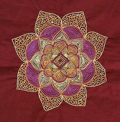 Kolam Pattern Embroidery Artwork Handmade Indian Irula Tribe Decor Handicraft