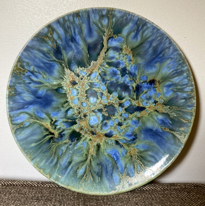 "Monterey Jade Plate Vintage California Pottery 8"" PL6 Signed Mid century"