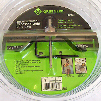 GREENLEE QUICK CUTTER ADJUSTABLE RECESSED LIGHT HOLE SAW 2-1/2