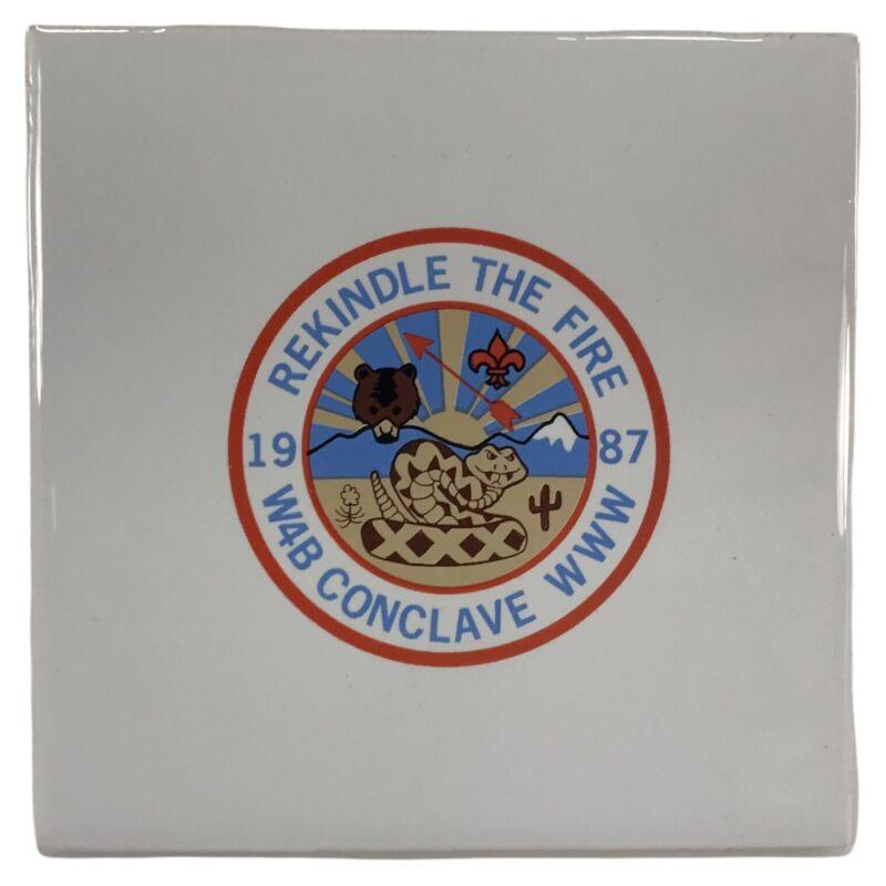 VTG Boy Scout 1987 W4B Conclave WWW Rekindle the Fire Tile