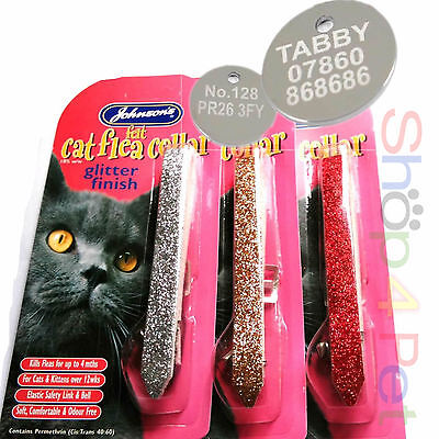 JOHNSONS Sparkling Glitter Cat FLEA Collar With or Without a ENGRAVED PET ID TAG