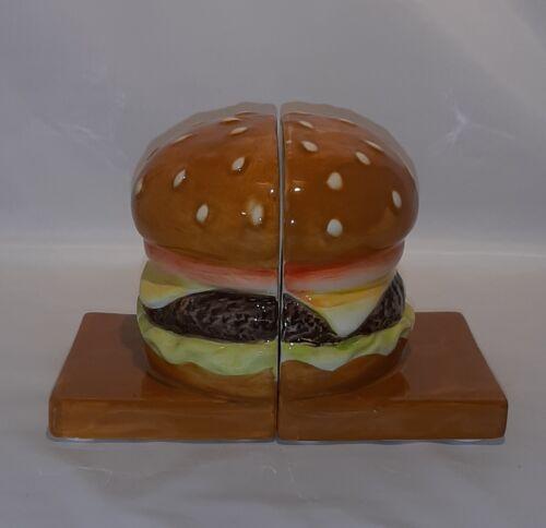 Cheeseburger Hamburger Ceramic Bookends Kitchen Whimsical Fun