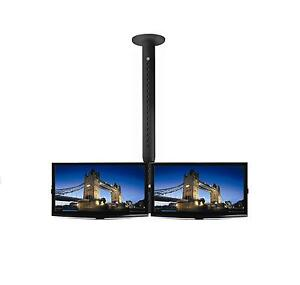 Double-19-LCD-LED-TV-Monitor-Single-Pole-Ceiling-Mount-Professional-Grade