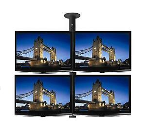 Four-x-26-LCD-LED-TV-Monitor-Single-Pole-Ceiling-Mount-Professional-Grade