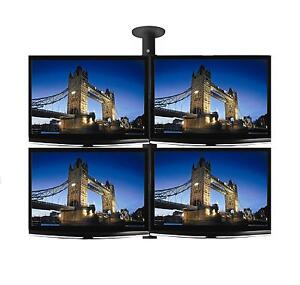 4-x-26-LCD-LED-TV-Monitor-Single-Pole-Ceiling-Mount-Professional-Grade