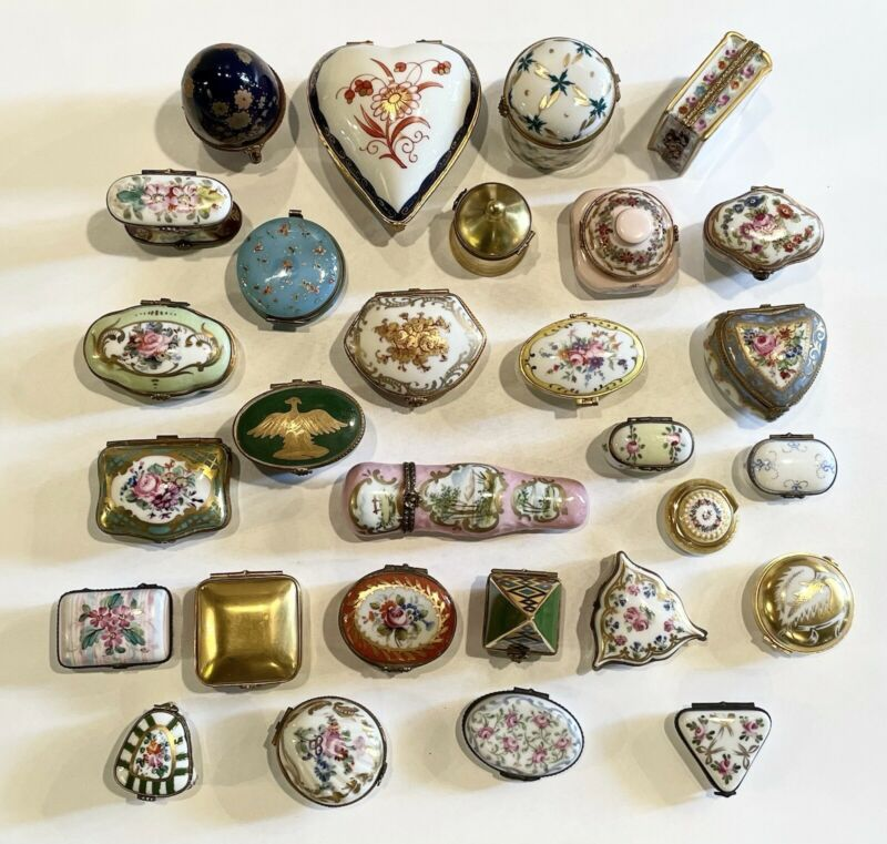 One Lot of 29 Pieces Vintage Limoges Snuff and Pill Box Dresser Boxes